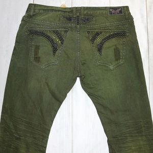 Robin's Jean Jeans - NWT Robin's Jean Olive Green Studs Crystals 40